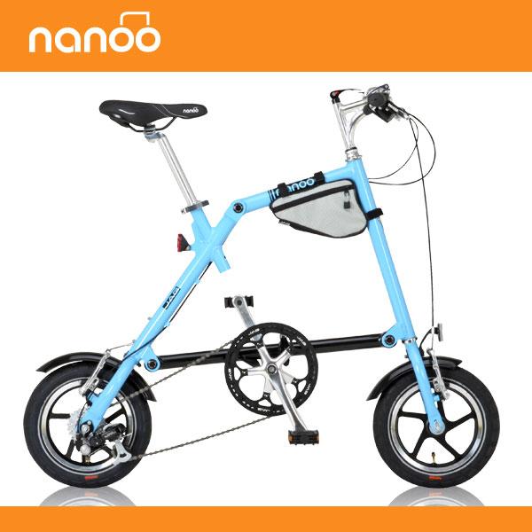 12インチ 折りたたみ自転車 NANOO FD-1207 ブルー[ 7段変速 輪行バッグ フォールディングハンドル 泥除け ライト ]