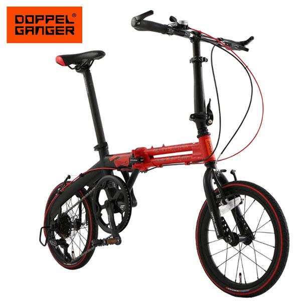 折りたたみ自転車 16インチ アルミフレーム 超軽量 コンパクト 7段変速 ドッペルギャンガー 104-r-rd