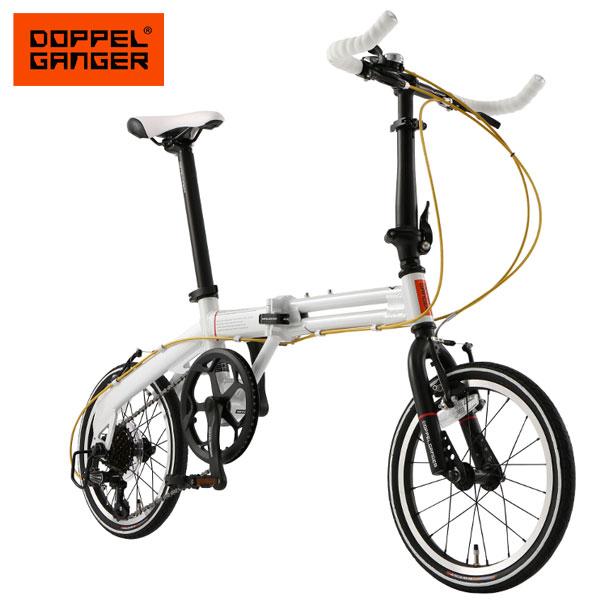 【数量限定特価】折りたたみ自転車 16インチ アルミフレーム 超軽量 コンパクト 7段変速 ドッペルギャンガー 104-r-wh ホワイト