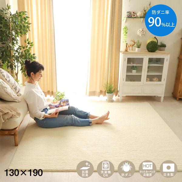 国産 防ダニ 抗菌 消臭 洗濯可能 床暖房対応 高機能 ラグ 130×190cm 絨毯 カーペット Air Clean