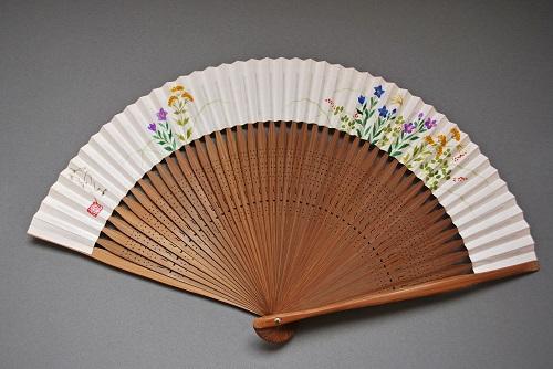 京風庵大むら 婦人用京扇子六寸五分手描和紙雅扇子45間短地 秋草