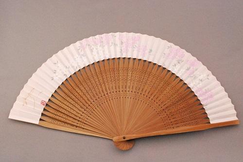 京風庵大むら 婦人用京扇子六寸五分手描和紙雅扇子45間短地 桜