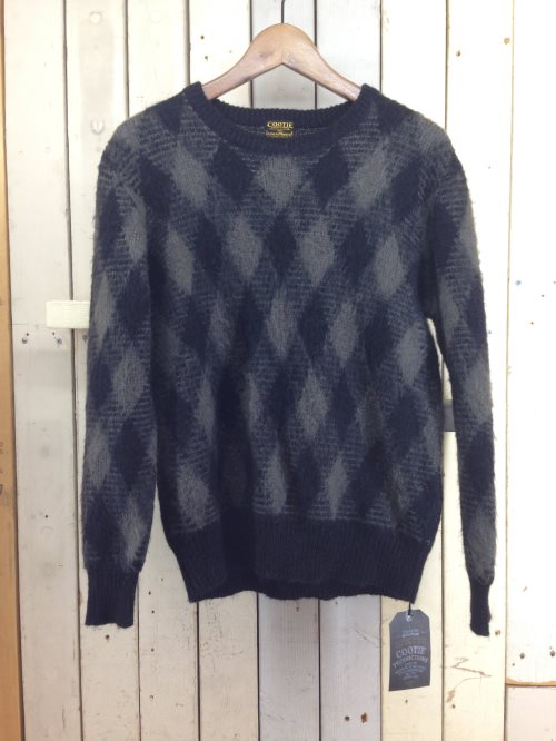 COOTIE クーティー 15AW ARGYLE MOHAIR SWEATER アーガイル モヘヤニット S ブラック×グレー/トップス【中古】[☆3]