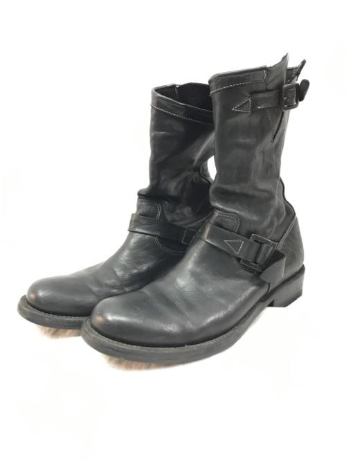 ISAMU KATAYAMA BACK LASH イサムカタヤマ バックラッシュ 27cm ダブルショルダー エンジニア ブーツ Vibramソール ブラック メンズ シューズ 靴/メンズ・ブーツ【中古】[☆3]