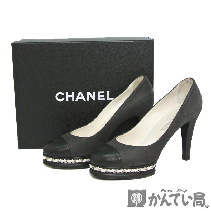 人気 送料無料 CHANEL シャネル パンプス カーフスキン ホワイトチェーン ココマーク 14C 爆売りセール開催中 表記サイズ39C 約24.5cm USED-AB 質屋かんてい局名古屋西店 レディース 靴 G29068