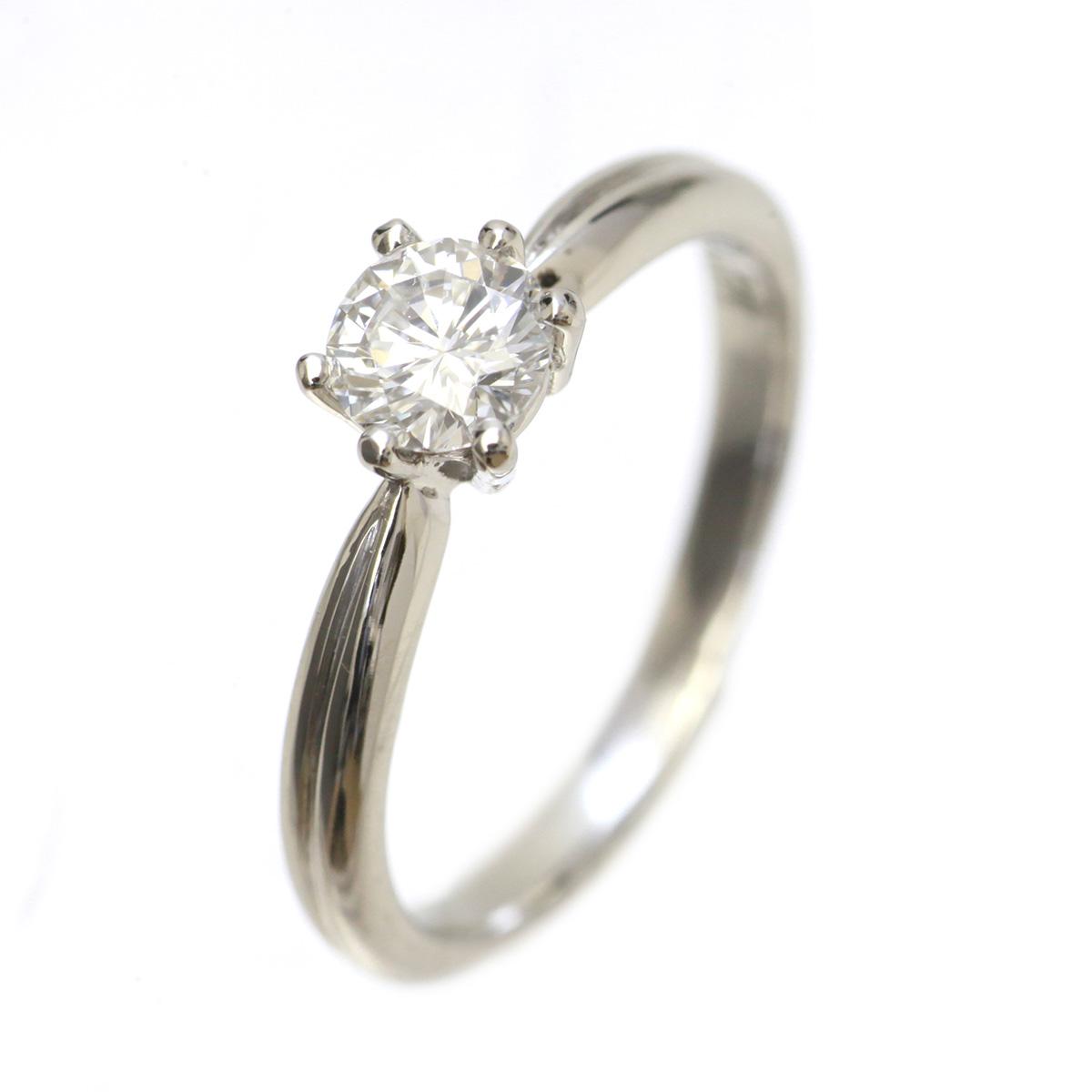 Pt900 立爪ダイヤリング 6号 0.31ct 2.6g ついに再販開始 030326CAH-12595 全国送料無料 中古 店舗