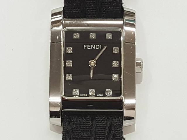 レディース時計【中古】 FENDI フェンディ 7000L 12P クオーツ時計 黒文字盤【楽ギフ_包装選択】