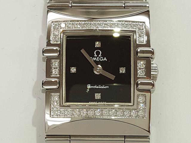 レディース時計【中古】 OMEGA オメガ コンステレーション ダイヤベゼル 1528.46  黒文字盤 新品仕上げ済み【楽ギフ_包装選択】