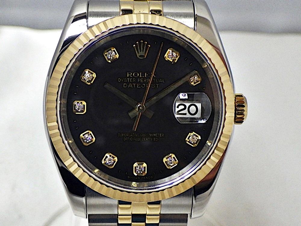 【中古】ROLEX ロレックス 116233G デイトジャスト 10Pダイヤ F番(2003~2005) 黒文字盤 SS×YG イエローゴールド メンズ 自動巻き 腕時計 質屋 かんてい局 金沢バイパス店 19-568
