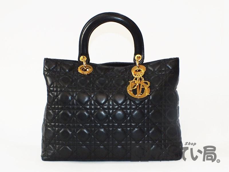 Christian Dior クリスチャン ディオール カナージュ レディディオール ハンドバッグ ラムスキン ブラックxゴールド 中古 used A