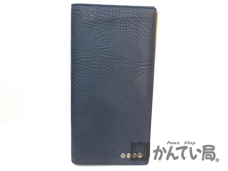 未使用展示品 TOD'S トッズ レザー 2つ折り長財布 ネイビー 札入れ used S