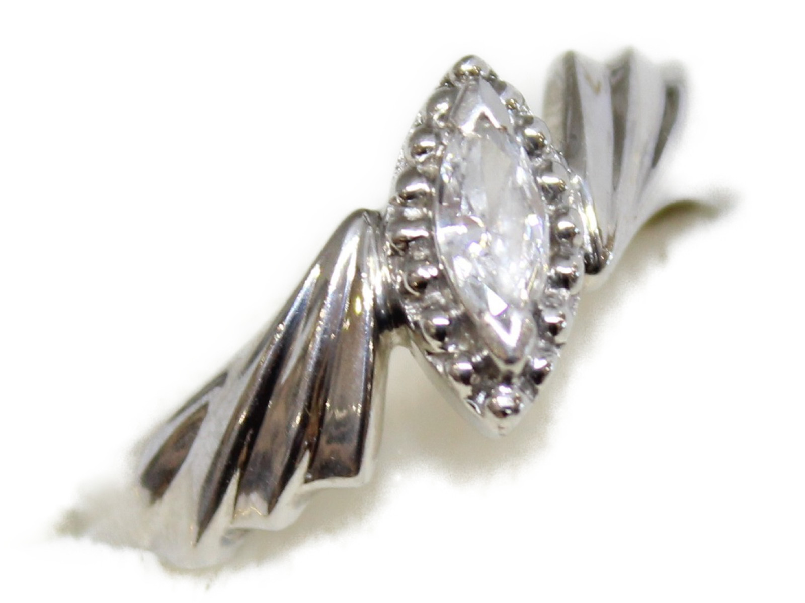 ダイヤモンドリングダイヤモンド0.16ctマーキスカットPt900 6.5g 14号美品 ギフト包装可 【中古】