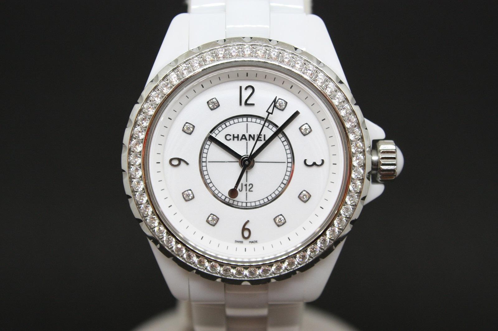 CHANEL J12 H3111 8P ベゼル ダイヤモンド セラミック  ホワイト レディース 腕時計 【中古】