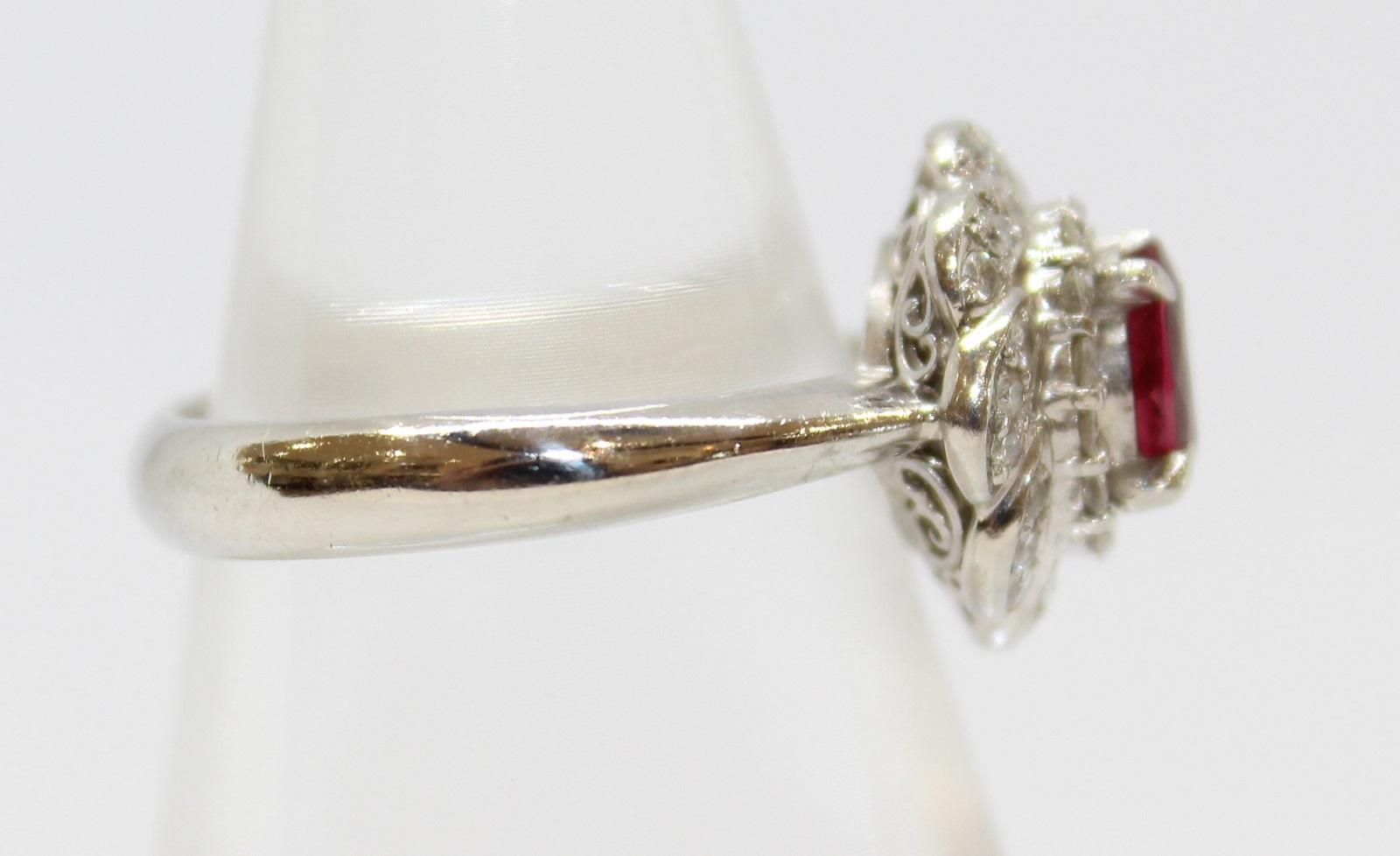 フラワーリングルビー0 72ctダイヤモンド0 30ctPt900 6 5g 10 5号フラワーモチーフ カワイイ美品 ギフト包装可rdWoxCBe