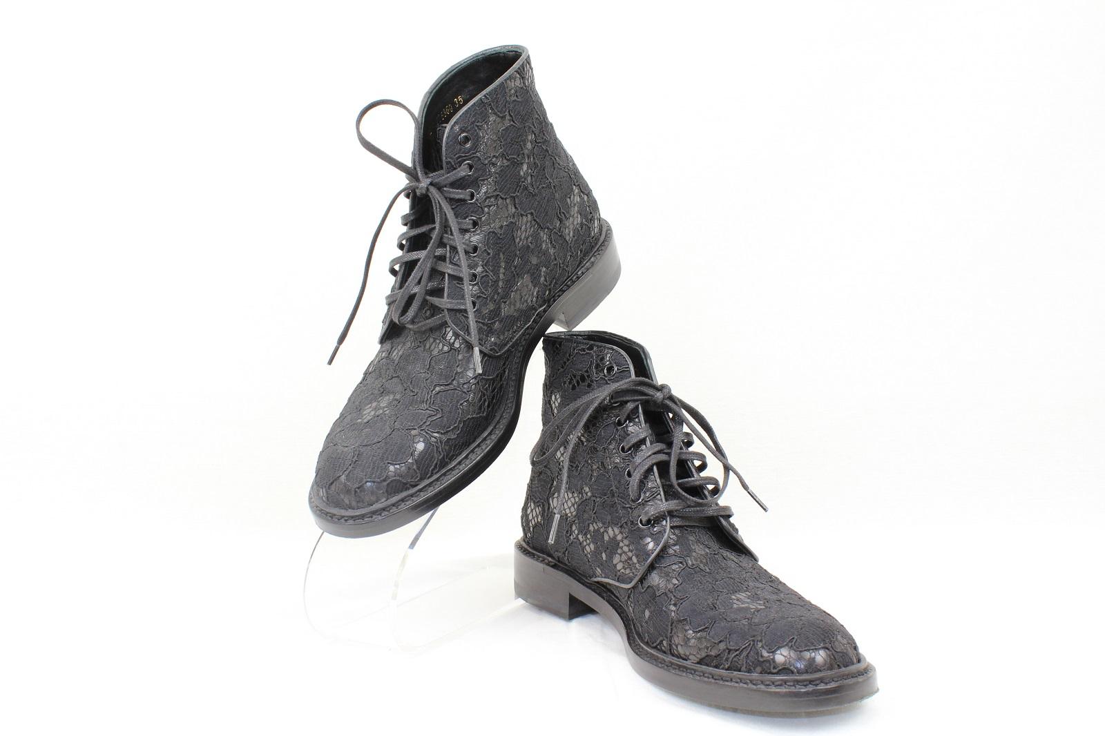 SAINT LAURENCEレースアップ ブーツブラック 黒 レース靴 ブーツ サイズ:35(21.5cm)【中古】