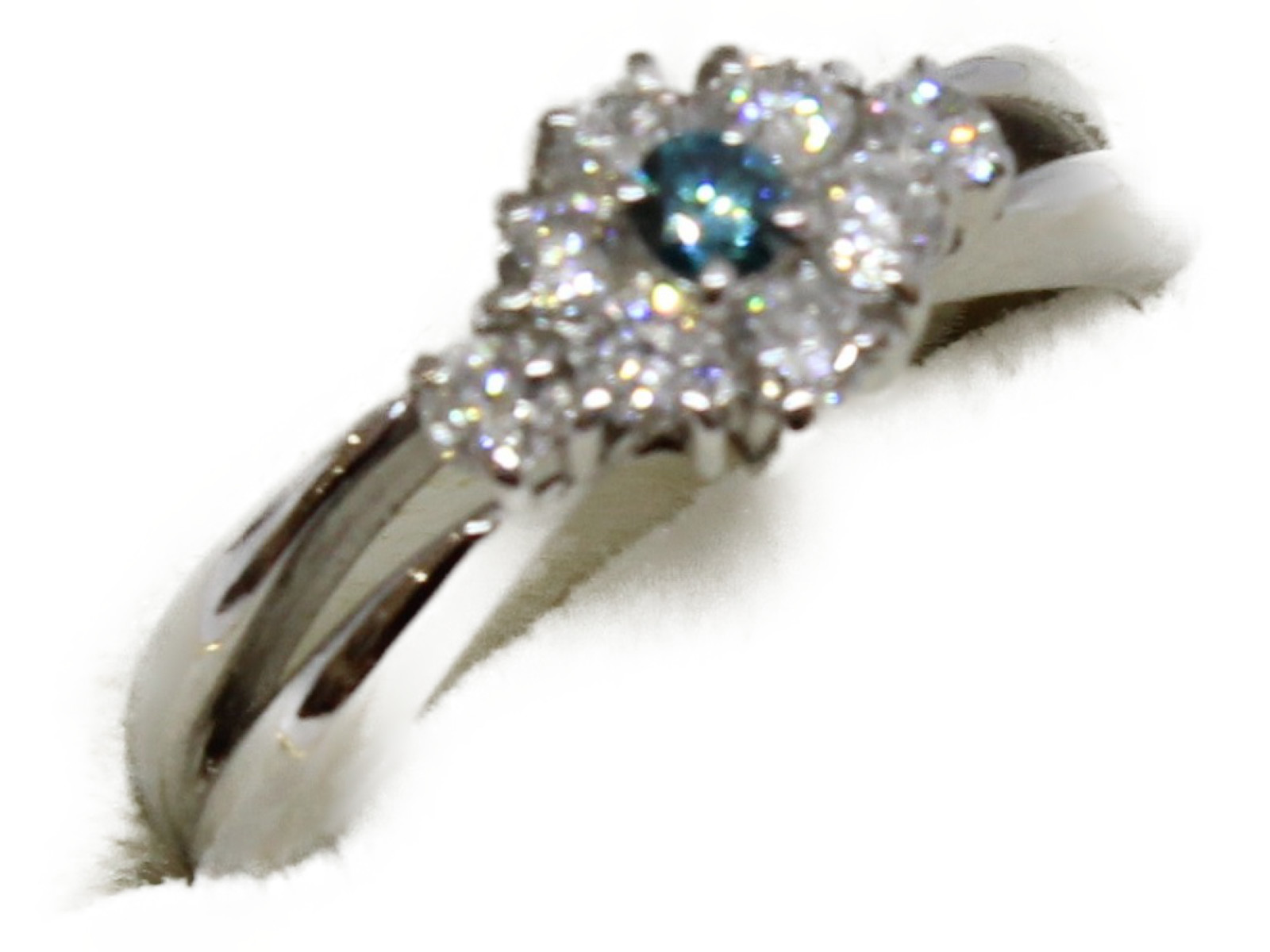 ブルーダイヤリングブルーダイヤ0.09ctダイヤモンド0.43ctPt900 6g 12号 保証書付ギフト包装可 【中古】