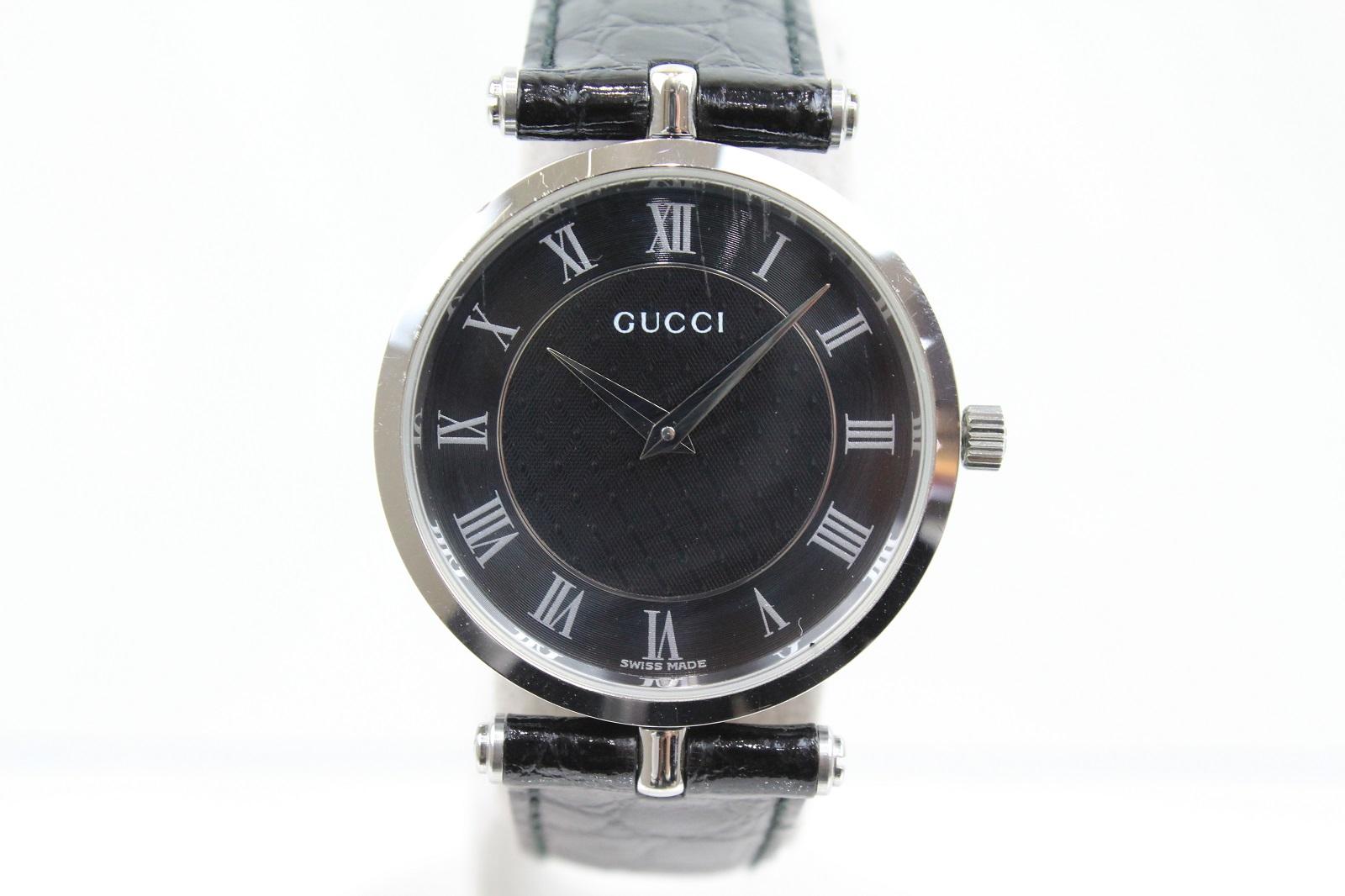 GUCCI グッチ 2040M クオーツ SS ステンレススチール ブラック 革ベルト レディース メンズ ボーイズ 腕時計 【中古】