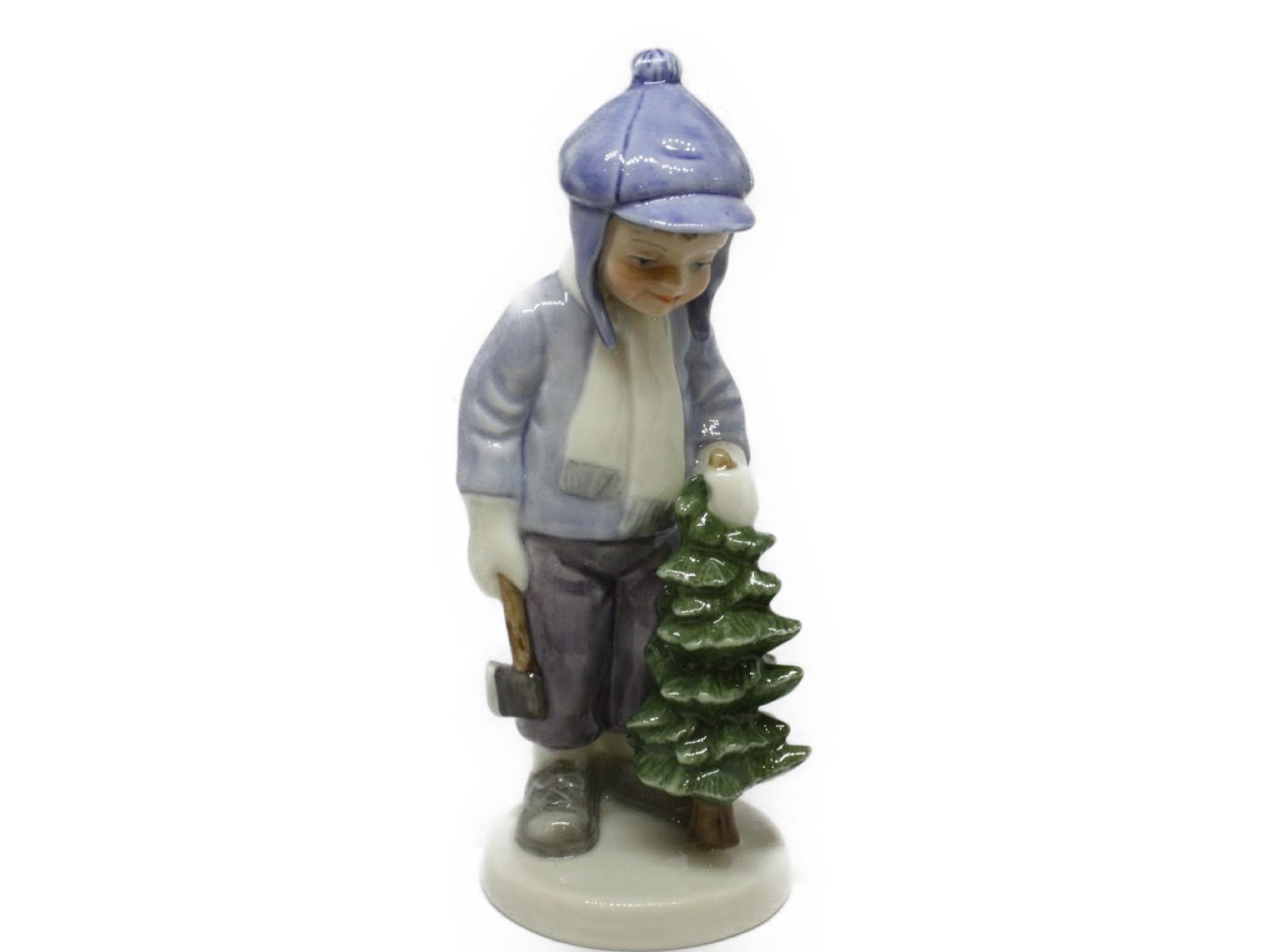 Royal Copenhagen ロイヤルコペンハーゲン少年とツリー 陶器置物 お人形ギフト プレゼント【中古】
