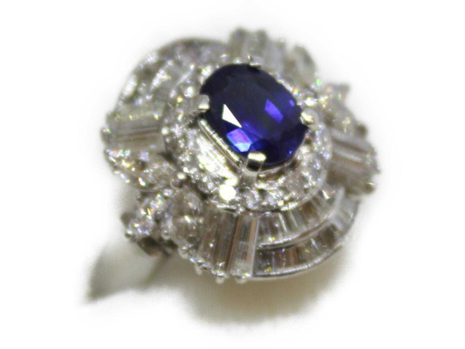 サファイアリングサファイア1.34ctダイヤモンド2.50ctPt900 10.1g 12号【中古】