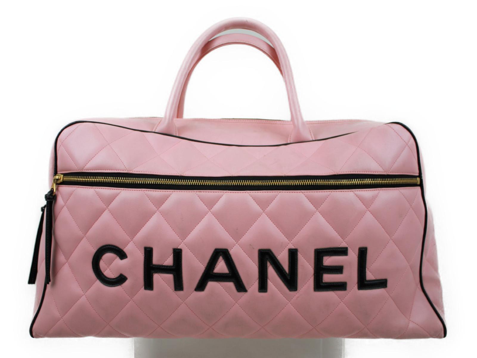 【大きい】CHANEL シャネルボストンバッグ 旅行バッグ カバンピンク 桃 ブラック 黒 ゴールド金具【中古】