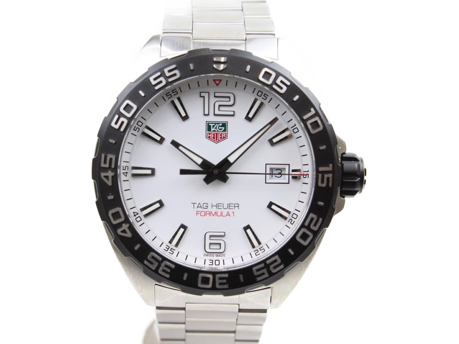 【☆未使用品☆】TAG-HEUER フォーミュラ1 WAZ1111.BA0875 クオーツ デイト SS ステンレススチール ホワイト メンズ 腕時計【中古】