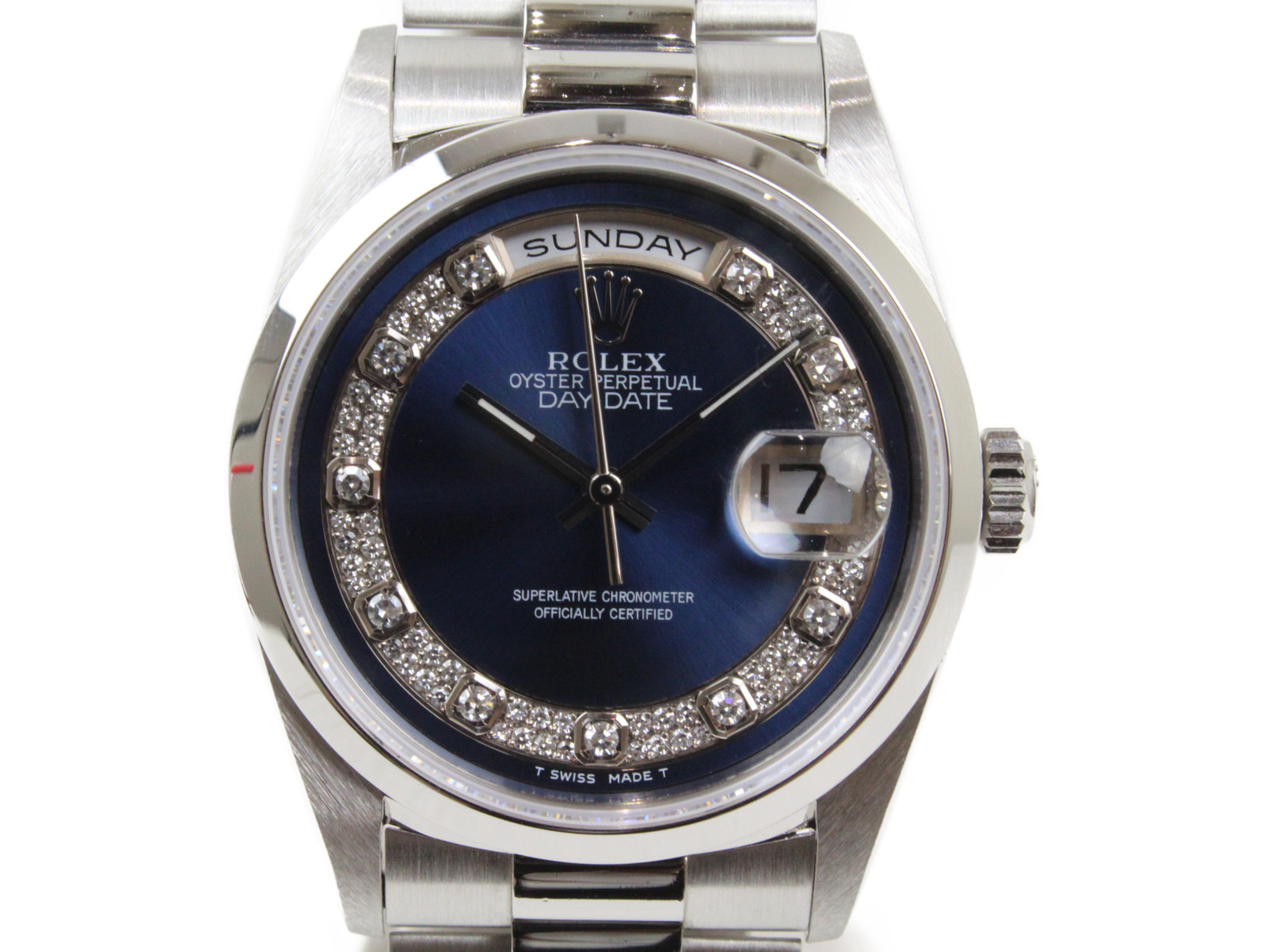 【プラチナ無垢】ROLEX ロレックス デイデイト ミリヤードブルー 18206MG W番 1994年 自動巻き デイト 曜日 ダイヤモンド プラチナ無垢 メンズ 腕時計【中古】