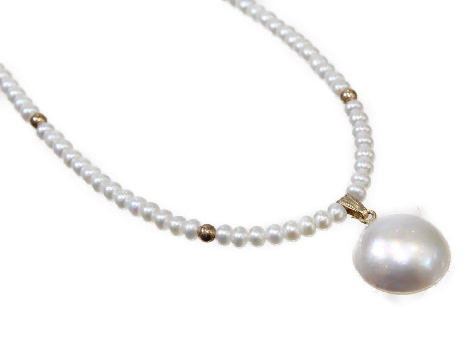 マベ真珠ネックレスマベ真珠 真珠 K14 41cmシンプル 上品 ギフト包装可【中古】