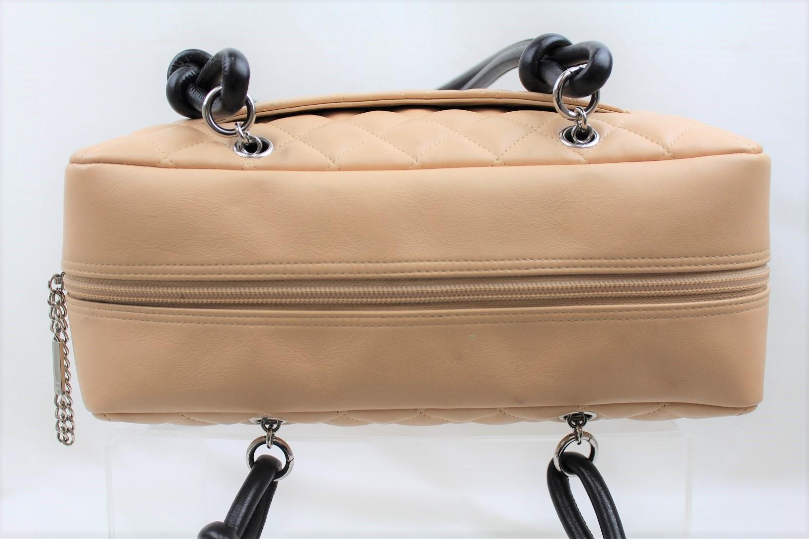 39507fb2a0fb ... ギャラあり】CHANELシャネルカンボントートハンドバッグショルダーレザーベージュブラックココマークバッグ ...