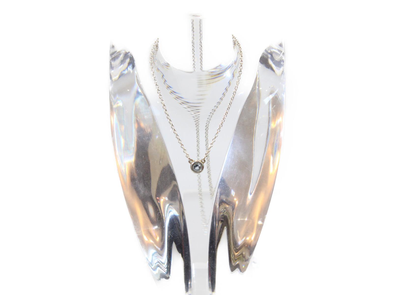 【Tiffany&㏇(ティファニー)】バイザヤードネックレスアクアマリン0.06ct 40cmネックレス シンプルギフト包装可 【中古】