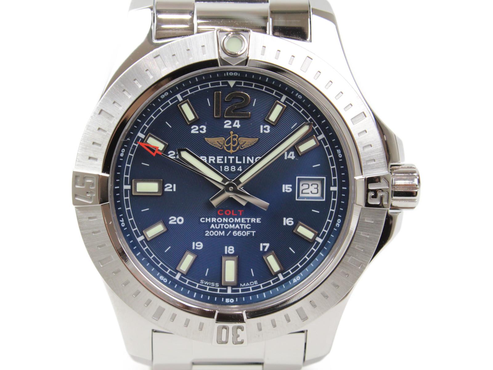 【ギャラ有】BREITLING ブライトリング コルト A17313 自動巻き デイト 200m防水 SS ステンレススチール ブルー 青 紺 ネイビー メンズ 腕時計【中古】