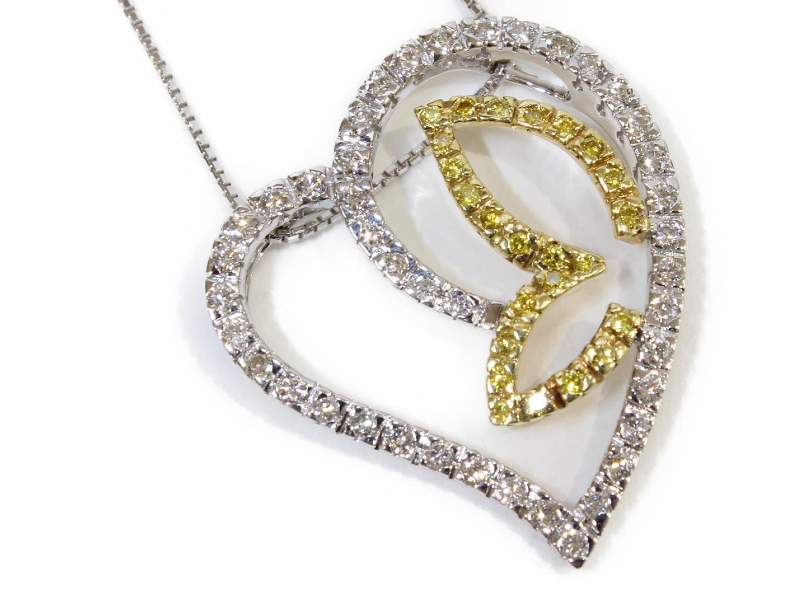 ハートネックレスダイヤモンド0.85ctK18WG 7.3g 42cm(アジャスター付)エレガント 上品 鑑別書/箱ギフト包装可 【中古】