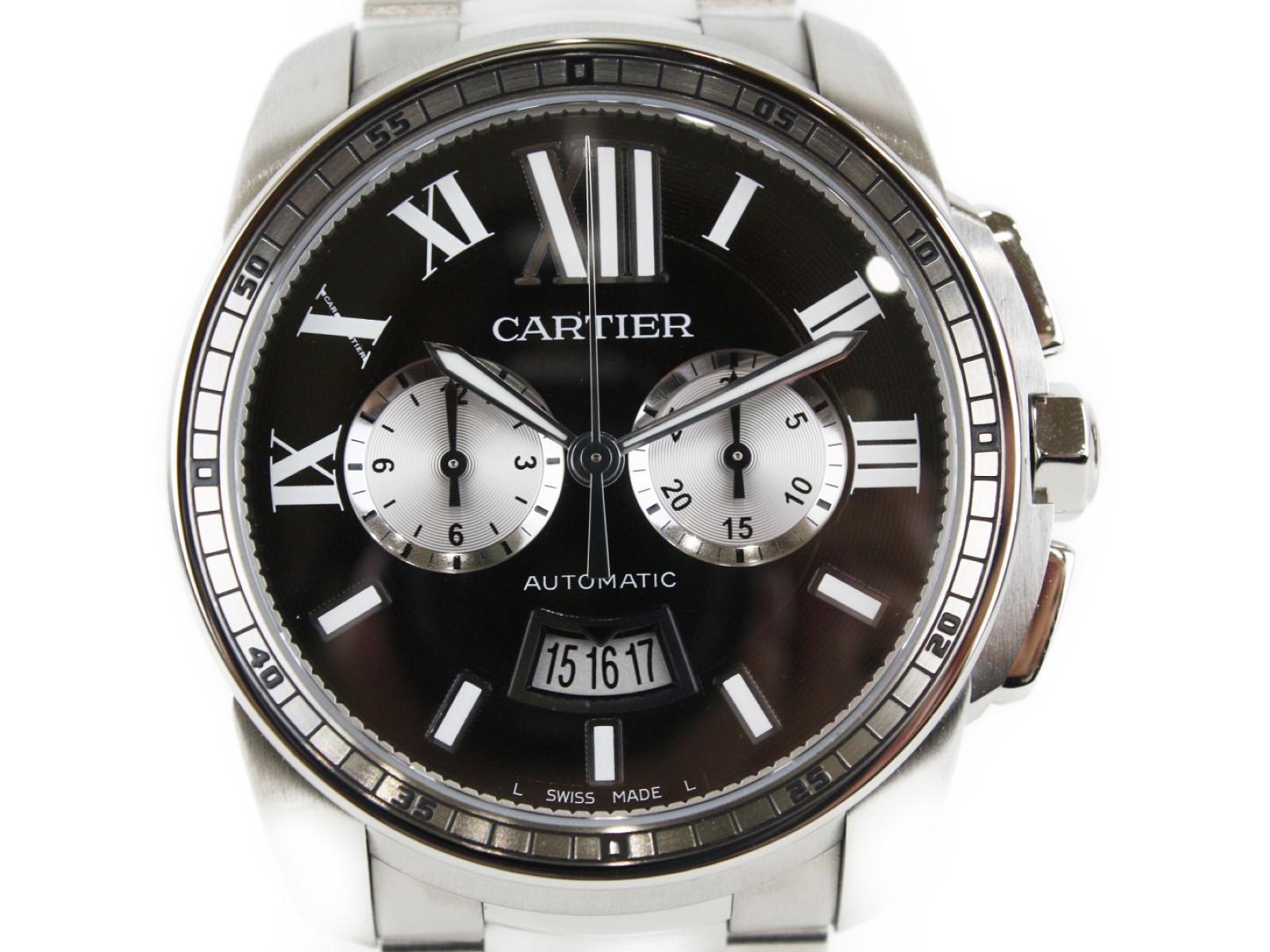 CARTIER カルティエ カリブル クロノグラフ W7100061 シースルーバッグ 42mm 自動巻き 100M防水 【中古】