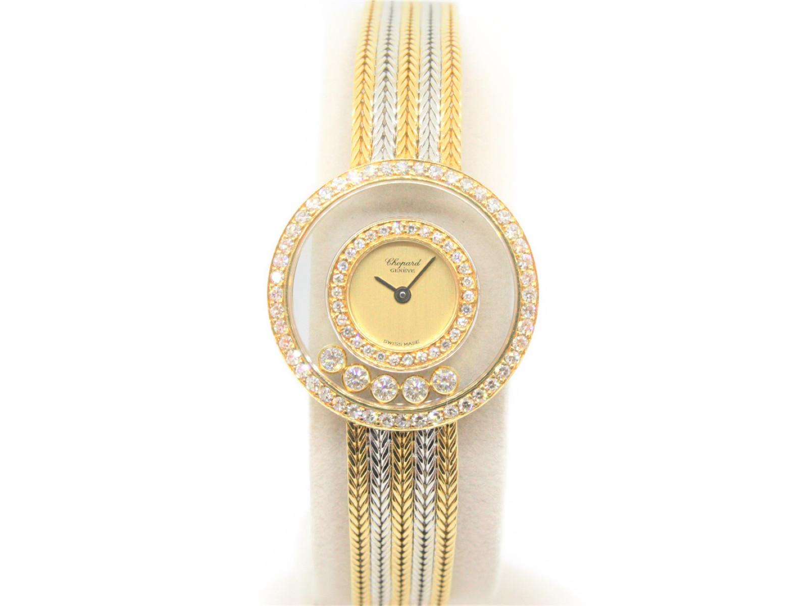 CHOPARD ショパール ハッピーダイヤモンド 4097 K18 金無垢 5Pダイヤ 丸型ケース ブレスレット 宝石 レディース クオーツ 腕時計 【中古】