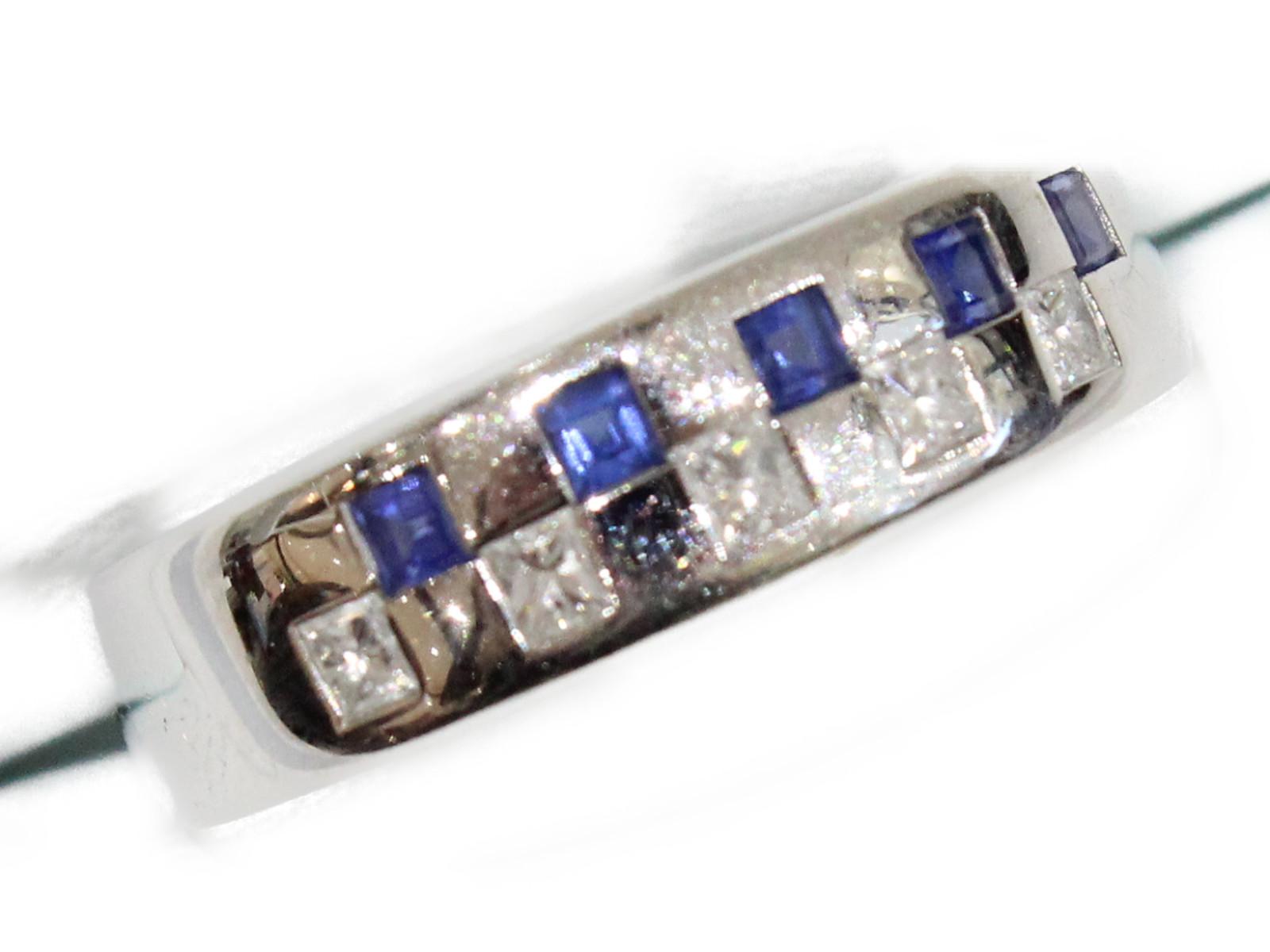 K18リングサファイア0.39ctダイヤモンド0.28ctK18 8.14g 21号 シンプル【中古】
