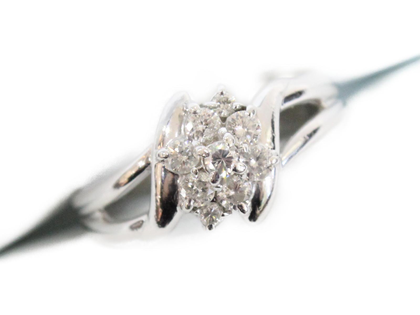 フラワーモチーフリングダイヤモンド0.27ctPt850 3.78g 約9号ギフト包装可 【中古】