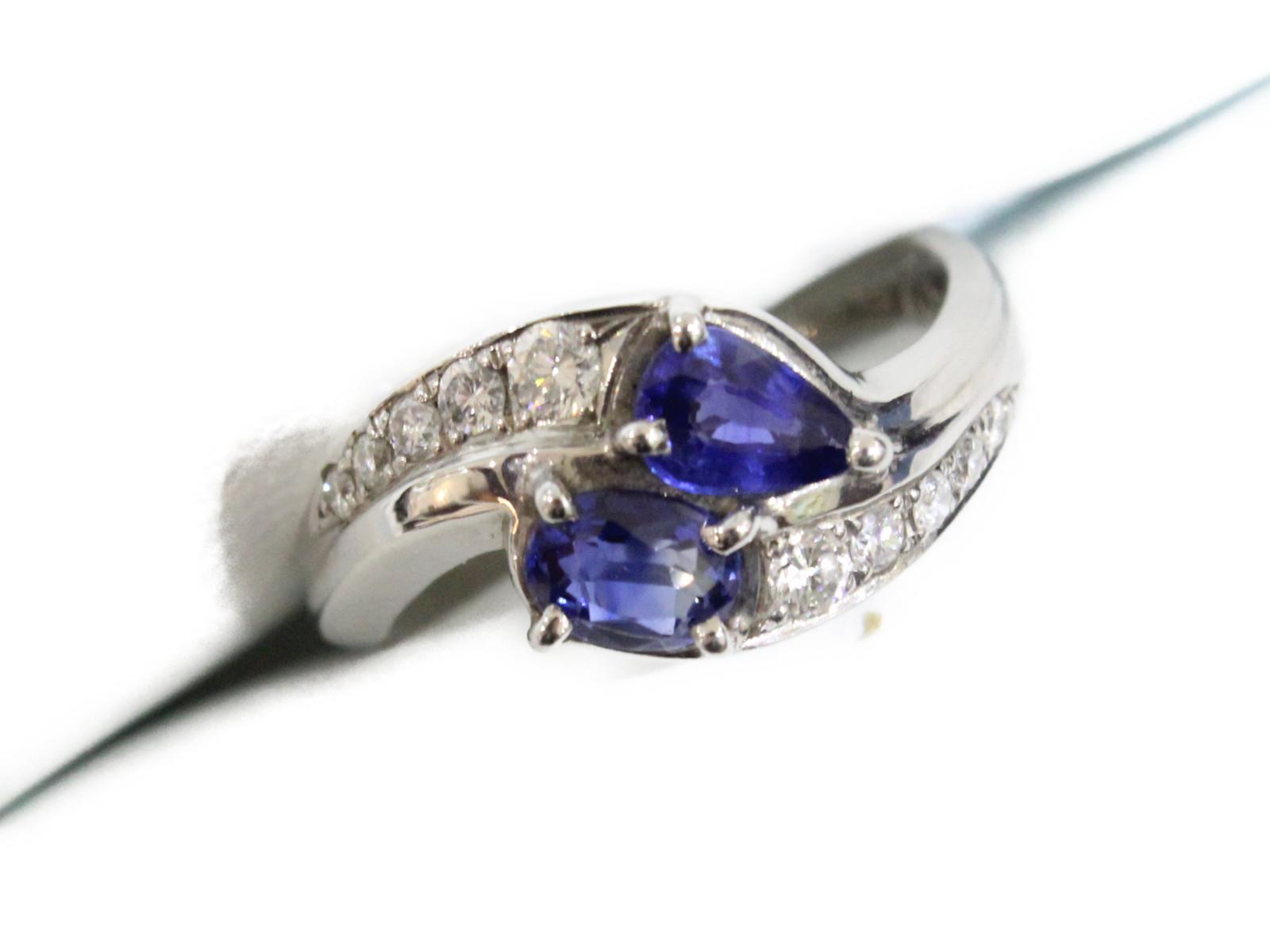 サファイアリングサファイア0.839ctダイヤモンド0.223ct6.2g 約10号ギフト包装可 【中古】