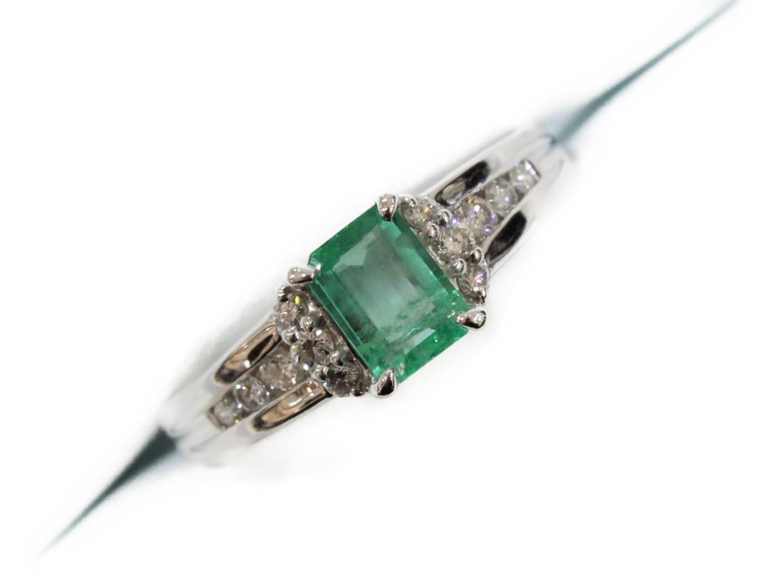 エメラルドリングエメラルド0.668ctダイヤモンド0.28ctPt900 6.2g 19号 美品ギフト包装可 【中古】