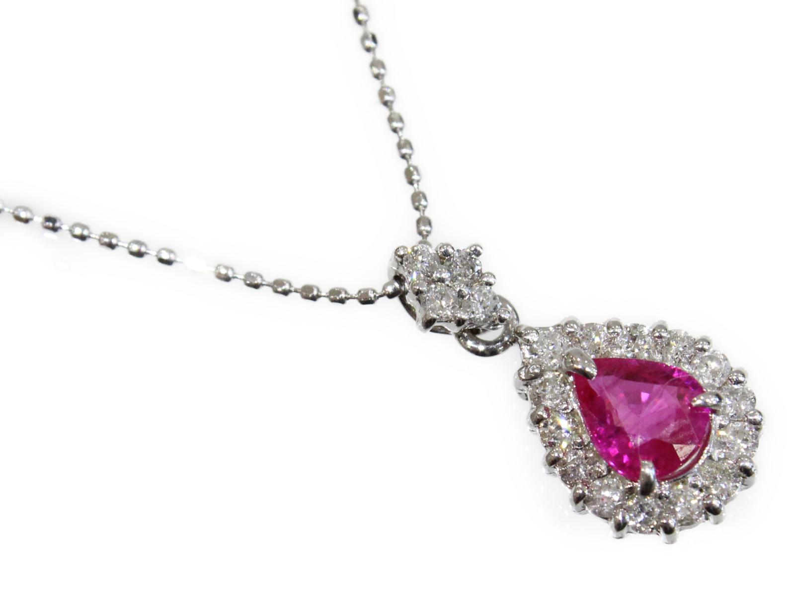 ルビー デザインネックレスダイヤモンド ダイヤ ペンダントK18WG ホワイトゴールド 涙型 しずく型 赤 ピンクかわいい 上品 ジュエリー 宝石【中古】