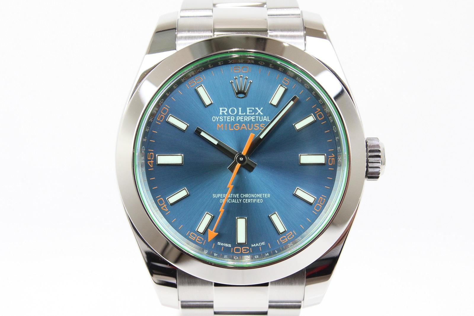 【ギャラ有】ROLEX ロレックス ミルガウス 116400GV ランダム 自動巻き SS ステンレススチール 緑風防 ブルー メンズ 腕時計【中古】