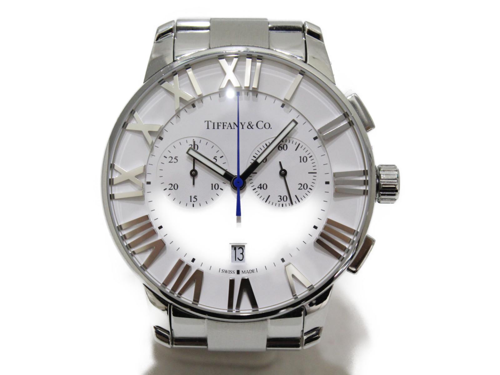 【ギャラ有】TIFFANY&Co. ティファニー アトラス クロノグラフ 42MM 32777562 クオーツ クロノグラフ デイト SS ステンレススチール メンズ 白 ホワイト 腕時計【中古】
