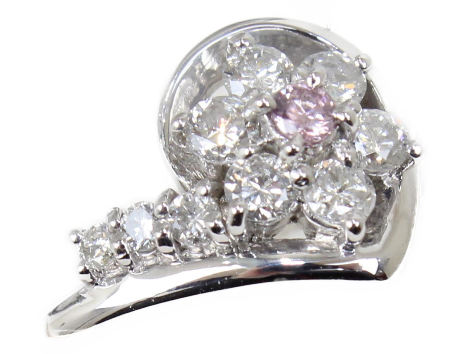 【新品仕上げ済☆】フラワーダイヤモンドリングダイヤモンド0.5ct Pt9006.2g 11号 上品 ギフト包装可【中古】