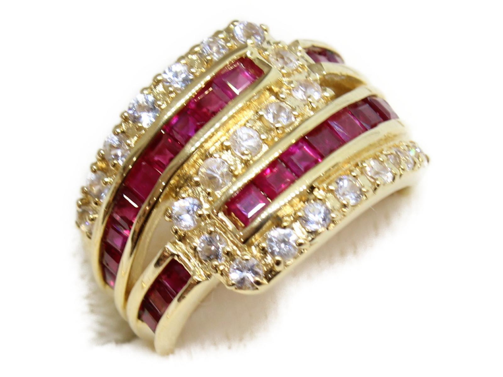 【☆新品仕上げ済☆】ルビーリングダイヤモンド ルビーK18 6.9g 約11号上品 高級ギフト包装可 【中古】