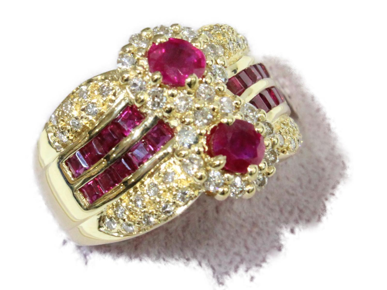 【☆新品仕上げ済☆】ルビーリングルビー1.66ct ダイヤモンド0.49ctK18 7.5g 約10.5号レディース 高級ギフト包装可 【中古】