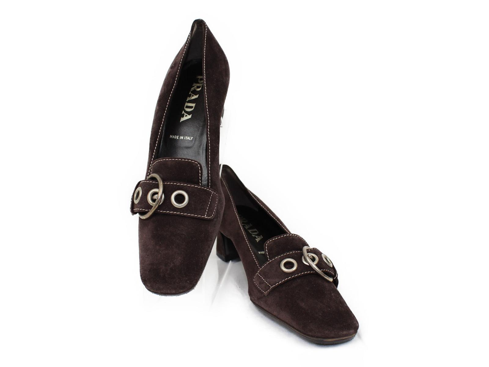 PRADA(プラダ)ヒールローファー DNC544ブラウン シルバー金具 スウェード靴 サイズ36 1/2 未使用品【中古】