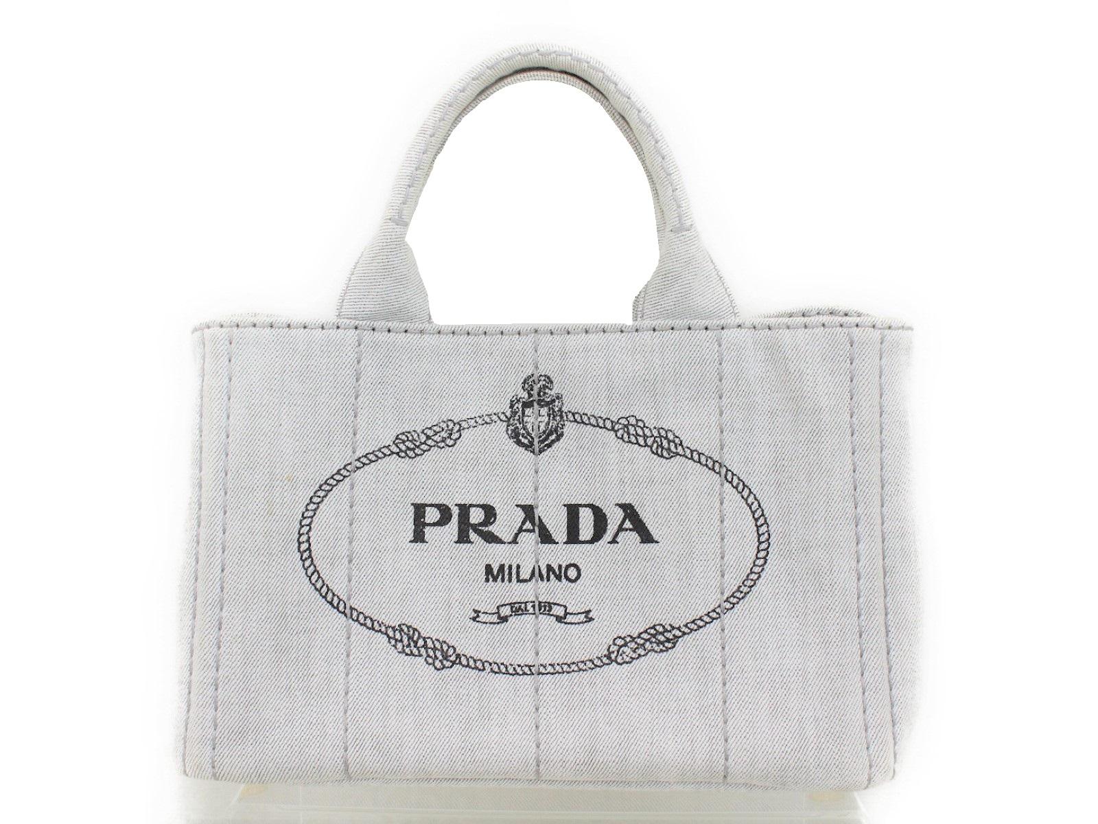 PRADA プラダカナパ 1BG439ビアンコ ライトグレー ゴールド金具ハンド ショルダー 2WAYバッグ【中古】