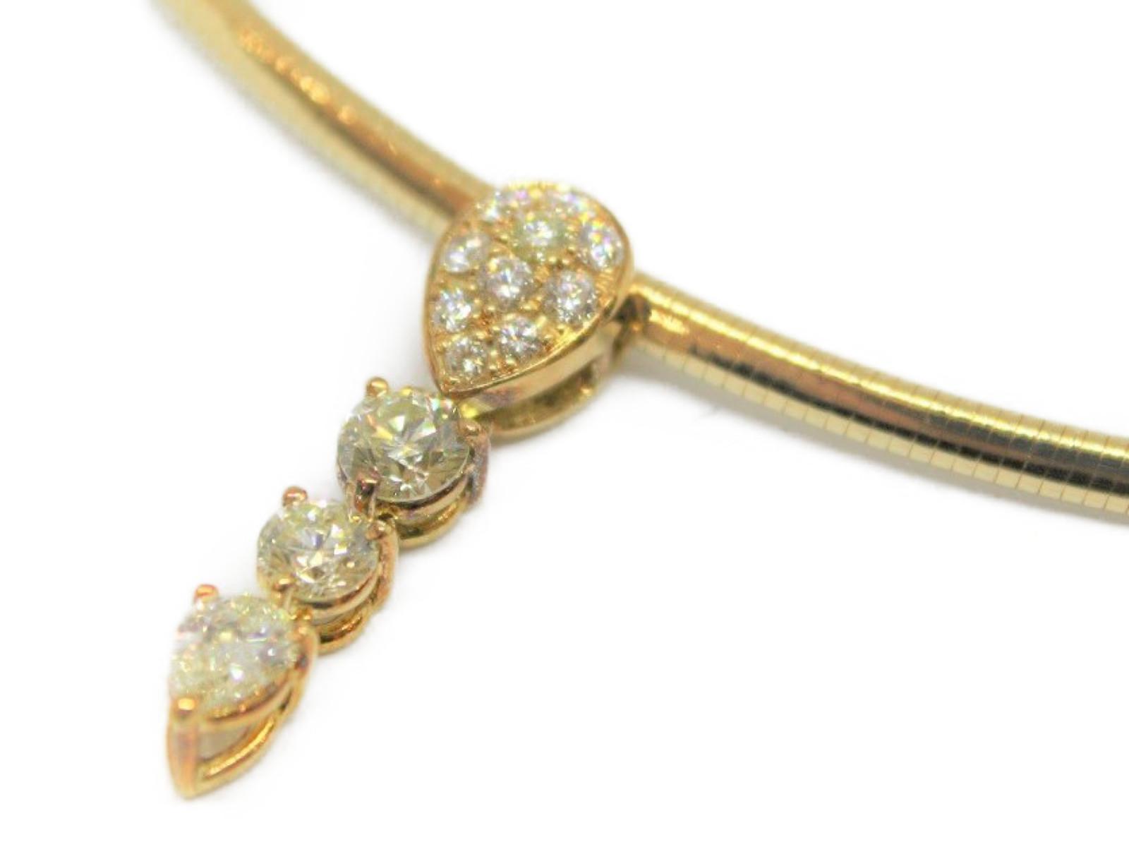 K18 ダイヤモンド デザイン ネックレス 750 4P ダイヤ ペンダントオメガネックレス涙型 しずく型 ゴールド 大人キレイ 宝石 ジュエリー オシャレプレゼントにいかがですか?ギフト包装可 【中古】