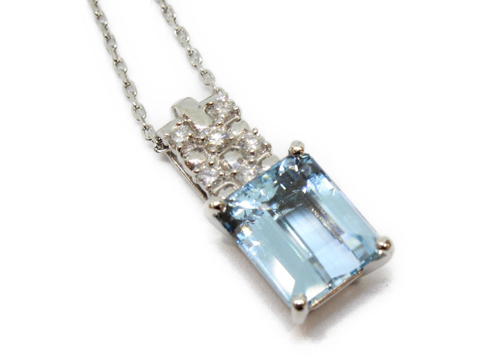 アクアマリンネックレスアクアマリン5.7ctダイヤモンド0.33ctPt900 Pt850 10.6g約42cm/38cm 爽やかギフト包装可 【中古】