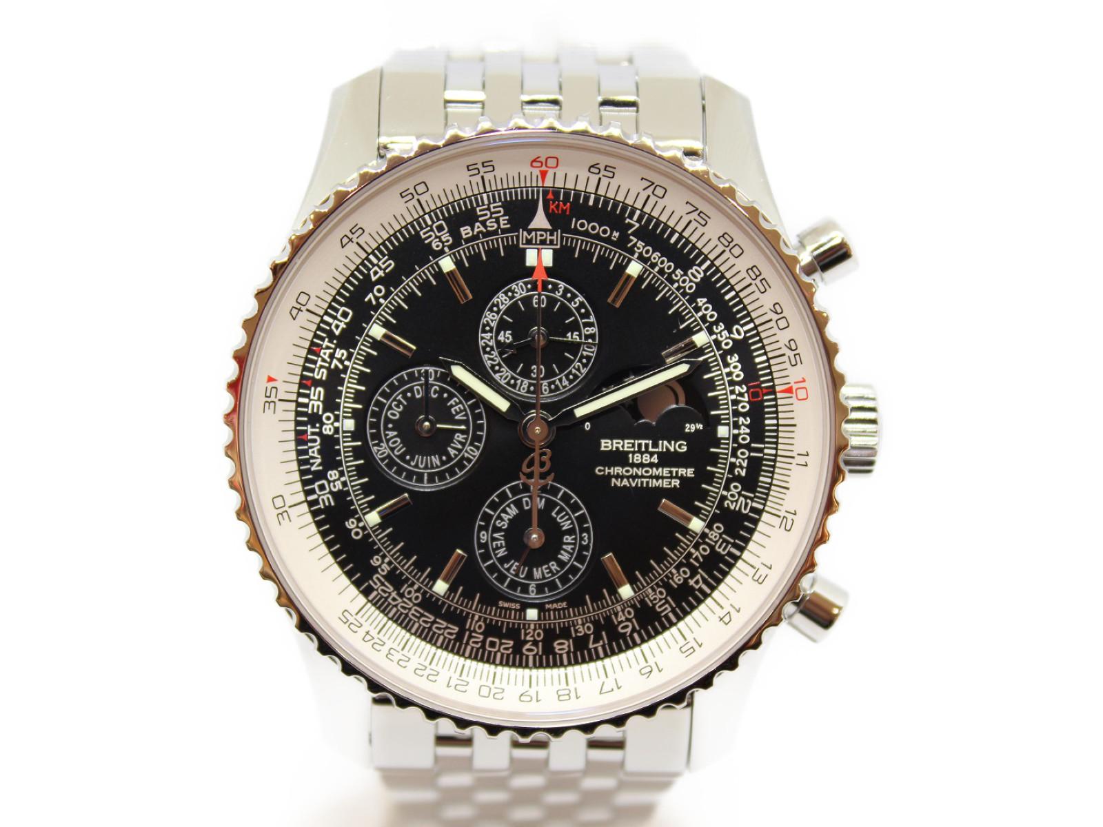 【世界1000本限定】BREITLING ナビタイマー A197B57NP SS ステンレススチール 77/1000 月・日付・曜日表示  クロノグラフ メンズ 腕時計 【中古】