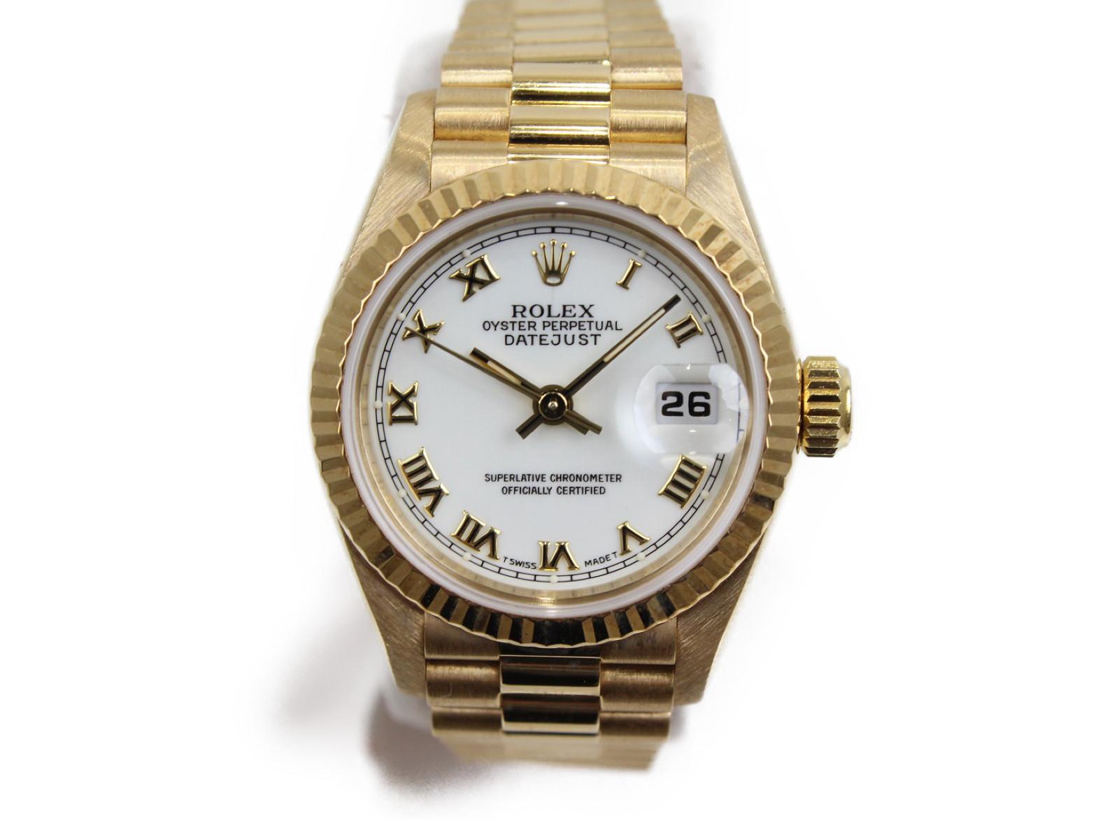 【OH済み】ROLEX ロレックス デイトジャスト 69178 S番 自動巻き デイト K18金無垢 イエローゴールド ホワイト レディース 腕時計【中古】