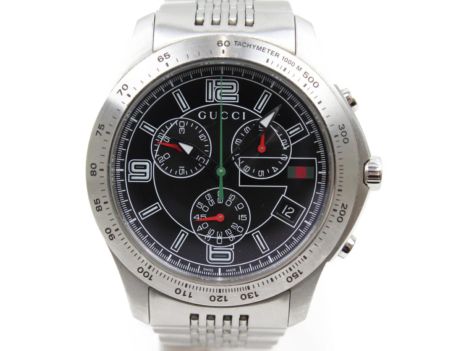 GUCCI グッチ G-タイムレス Y126205 クオーツ クロノグラフ デイト SS ステンレススチール ブラック メンズ 腕時計【中古】